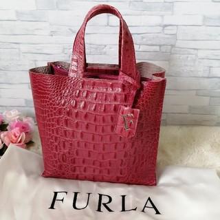 Furla - 美品♥フルラ✨FURLA♥ハンドバッグ✨クロコ型押し❤ピンク✨ 112