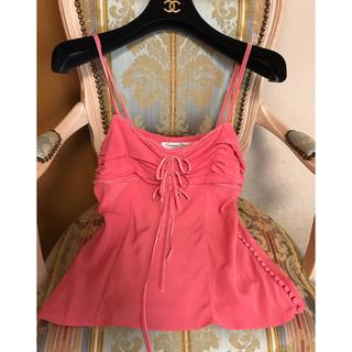 クリスチャンディオール(Christian Dior)の美品クリスチャンディオール  Dior  リボンが可愛い高級シルクのキャミソール(キャミソール)