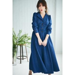 snidel - Her lip to Lace Belted Denim Dress ブルーS