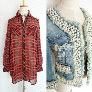 LE CIEL BLEU - 2点◆ルシェルブルー◆パールデニムジャケット×シアーチェックシャツ