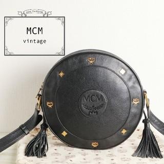 MCM - 美品 MCM ロゴ スタッズ タッセル レザー ラウンド ショルダー バッグ