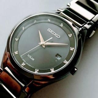 セイコー(SEIKO)の【新品】ダイヤ付★セイコー 光沢あるブラック加工★SEIKO ソーラー(腕時計(アナログ))