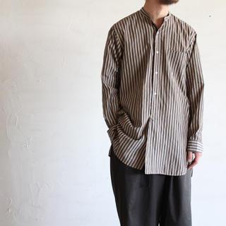 COMOLI - 【希少品】comoli バンドカラーシャツ  ロンドンストライプ サイズ 2