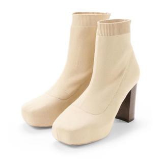 ココディール(COCO DEAL)のスクエアトゥプラットフォームニットブーツ COCODEAL(ブーツ)