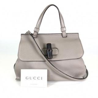 Gucci - グッチ バンブーデイリー 2wayバッグ 370831 グレー レザー