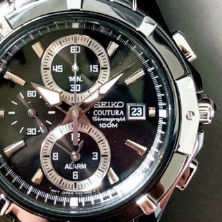 セイコー(SEIKO)の【新品】セイコー上級コーチュラ 光沢あるブラック加工★クロノグラフ(腕時計(アナログ))