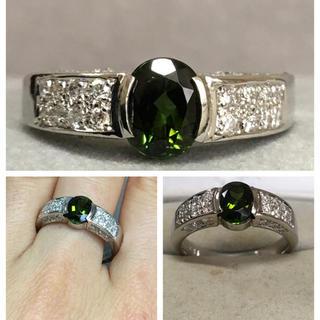 Pt900 1.41カラット 綺麗なグリーントルマリン ダイヤモンド リング(リング(指輪))