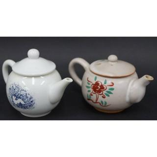 色絵『兎文 / 花文』急須 後手急須 二点セット 茶器 / 煎茶道具(陶芸)