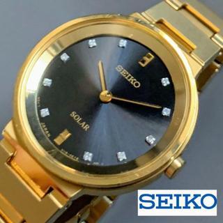セイコー(SEIKO)の【展示品】SEIKO ダイヤ付★黒とイエローゴールド ソーラー セイコー(腕時計)