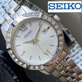セイコー(SEIKO)の【新品】上品な装いを手元に★SEIKO スワロフスキーダイヤ★ シルバー(腕時計)