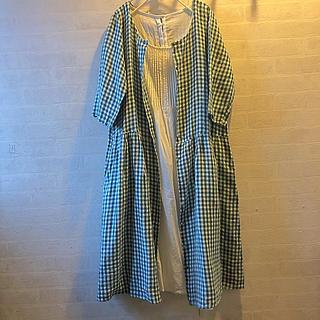 SM2 - *未使用*SM2   グリーン×白 リネンワンピース 七分袖 羽織り