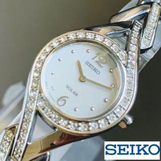 セイコー(SEIKO)の【展示品即納】スワロフスキークリスタル付★SEIKOセイコー ソーラー 女性用(腕時計)