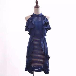 新作 大人可愛い 紺色 ホルターネックワンピース 膝丈 ノースリーブ ドレス(ひざ丈ワンピース)