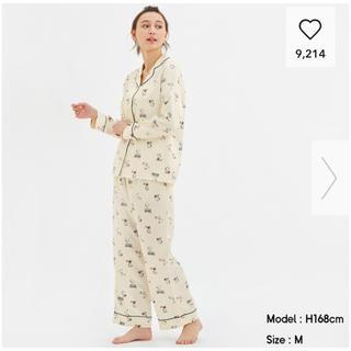 GU - ジーユーGUルームウェア♡ピーナッツPEANUTSスヌーピサテンパジャマ長袖XL