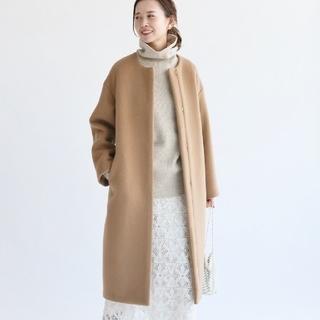 IENA - 新品 ラムウールノーカラーロングコート