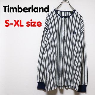 ティンバーランド(Timberland)のティンバーランド ロンT ストライプ ヘンリーネック ロゴ OLD USED 柄(Tシャツ/カットソー(七分/長袖))