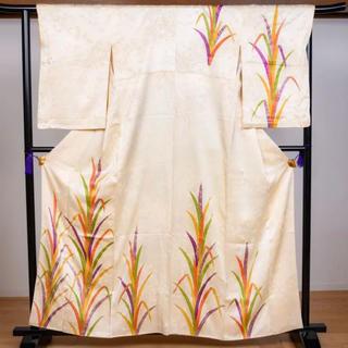 【送料無料】神が宿ると信じられていた稲穂!付け下げ 正絹 袷 クリーム 白 着物