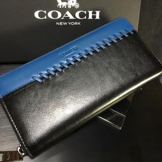 COACH - プレゼントにも❤️新品コーチ 美しい光沢のカーフレザー ラウンドジップ長財布