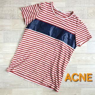 アクネ(ACNE)の【アクネ】ヴィンテージボーダーTシャツ ホワイト×レッド XSサイズ(Tシャツ(半袖/袖なし))