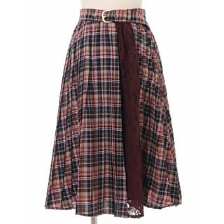 リズリサ(LIZ LISA)の【タグ付き新品】LIZ LISA 配色チェックプリーツスカート ボルドー(ロングスカート)