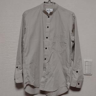 スタンドカラー ベージュ長袖シャツ サイズS(シャツ)