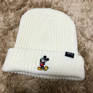 ディズニー(Disney)のニット ホワイト(ニット帽/ビーニー)