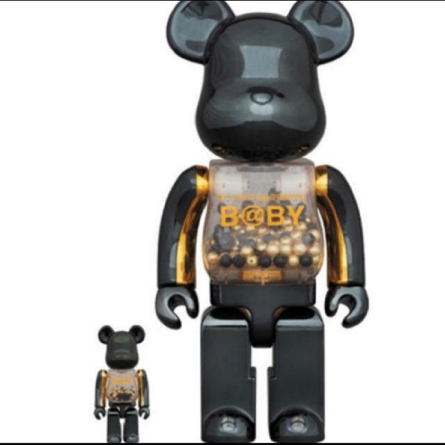 MEDICOM TOY(メディコムトイ)のMY FIRST BE@RBRICK B@BY innersect 黒&金 エンタメ/ホビーのおもちゃ/ぬいぐるみ(キャラクターグッズ)の商品写真