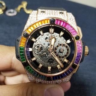 ウブロ(HUBLOT)の激レア ウブロ 398万円 レインボー キングパワー 入手困難 K18PG  (腕時計(アナログ))