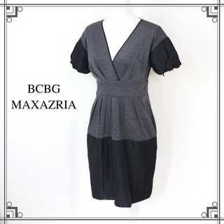 BCBGMAXAZRIA - BCBGマックスアズリア★異素材切替 カシュクールワンピース グレー S