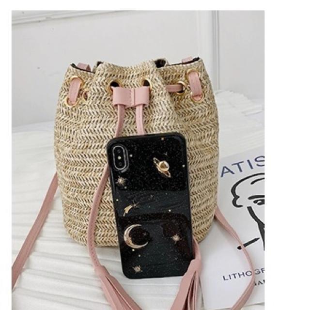 ZARA(ザラ)の【新品】バイカラー カゴバッグ ショルダーバッグ 巾着 斜めがけ ピンク レディースのバッグ(ショルダーバッグ)の商品写真