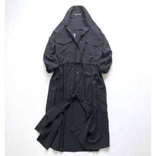 早い者勝ち❤️しわ感透け感ゆったりとろみシャツワンピ 黒 大きいサイズ3L(ロングワンピース/マキシワンピース)