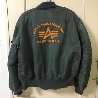 アルファインダストリーズ(ALPHA INDUSTRIES)のALPHA アルファ MA-1 MADE IN USA ジャケット 刺繍 XL(フライトジャケット)