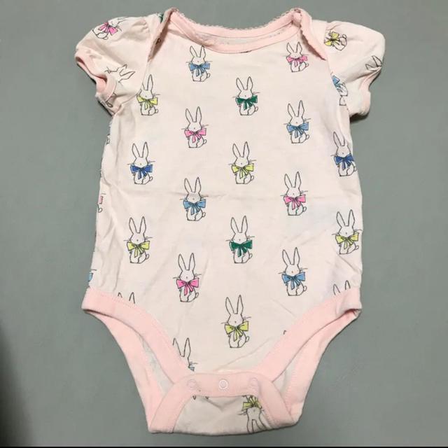 GAP(ギャップ)の70cm ロンパース ベビー 女の子 半袖 夏物 ピンク うさぎ BabyGap キッズ/ベビー/マタニティのベビー服(~85cm)(ロンパース)の商品写真