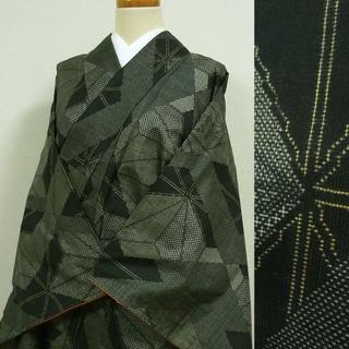黒地に幾何学柄 織りの小紋(着物)