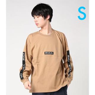 ルーカ(RVCA)のRVCA 黒ラインテープロンT ベージュS(Tシャツ/カットソー(七分/長袖))