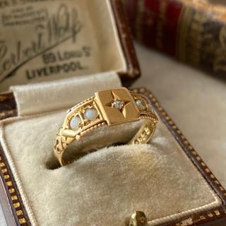 【専用】1900年 ダイヤモンド シードパール 18金リング(リング(指輪))