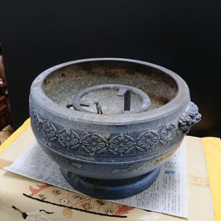 アルミ火鉢珍しい、状態◎時代物(彫刻/オブジェ)