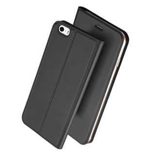 【D00】iPhone5/SE(ブラックグレー)手帳型マグネット付き(iPhoneケース)