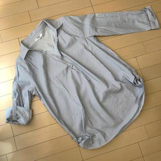 NATURAL BEAUTY BASIC - ナチュラルビューティベーシック ストライプ スキッパーシャツ Mサイズ