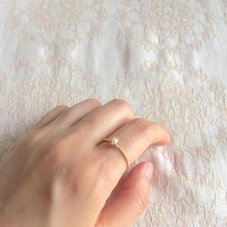 アガット(agete)の美品*NOJESS K10YGゴールドベビーパールリング 9号(リング(指輪))