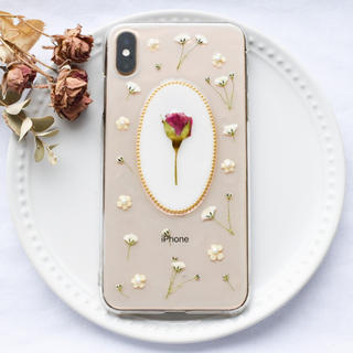 ハンドメイド iPhoneケース スマホケース 全機種対応 バラ×かすみ草