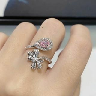 新作GIA  リボンの可愛いキラキラV.L.Pinkダイヤモンドリング