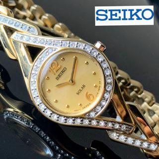 セイコー(SEIKO)の【極美品】スワロフスキーダイヤ★SEIKO セイコー★ソーラー★女性用 ゴールド(腕時計)