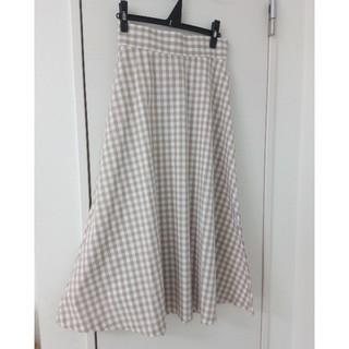GU - GU ギンガムチェックロングスカート ベージュ Mサイズ