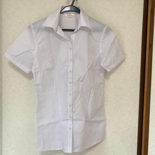 アオヤマ(青山)の洋服の青山 半袖シャツ ブラウス ストライプ オフィスカジュアル スーツ(シャツ/ブラウス(半袖/袖なし))