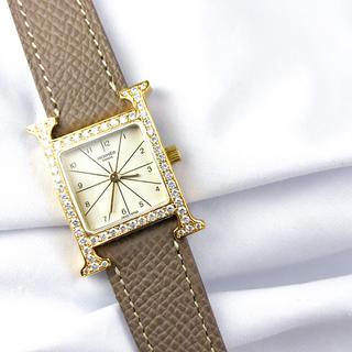Hermes - 【仕上済】エルメス Hウォッチ ゴールド ダイヤ レディース 腕時計 時計