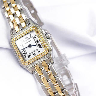 Cartier - 【仕上済】カルティエ パンテール SM コンビ 2ロウ ダイヤ 腕時計 時計