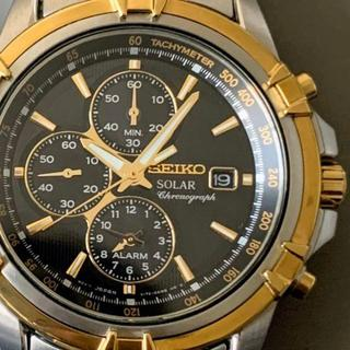 セイコー(SEIKO)の【新品即納】セイコーSEIKO クロノグラフ ソーラー仕様 ツートーン ブラック(腕時計(デジタル))