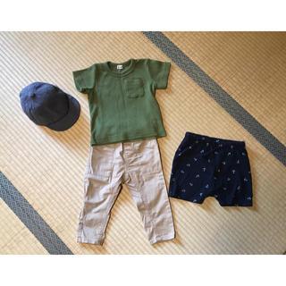 ニシマツヤ(西松屋)の【美品】男の子セットアップ帽子付き 80サイズ(Tシャツ)