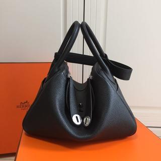 Hermes - 黒ハンドバッグ大容量30リンディタイプブラックショルダーバッグ